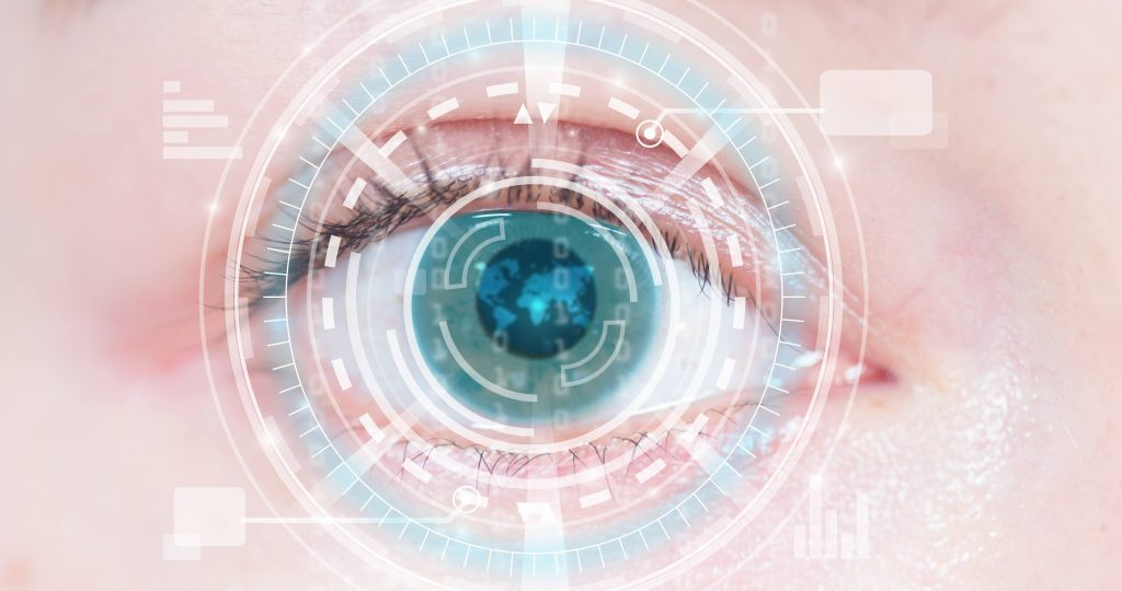 eclose up of person's eye with computer graphics