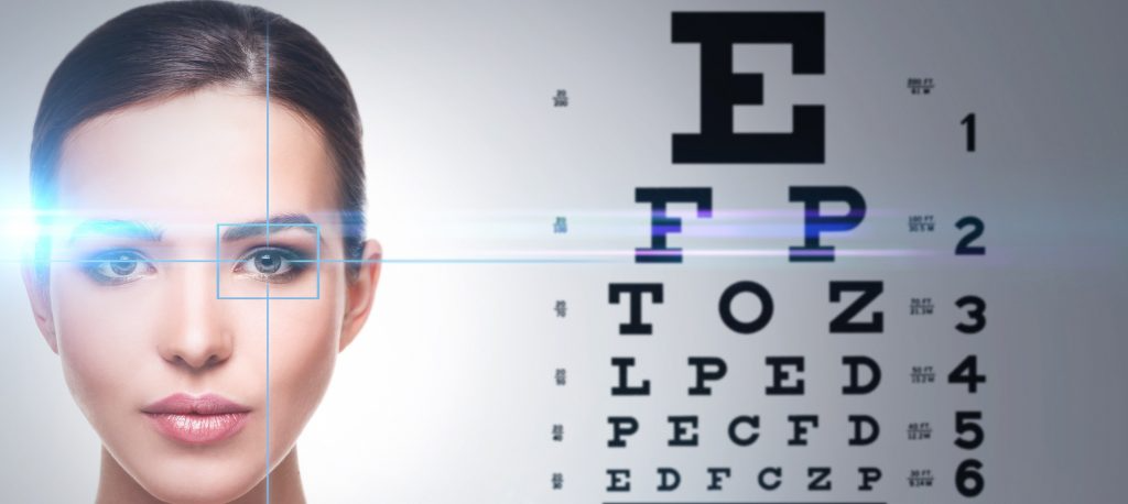 woman with retical on eye looking at eye chart