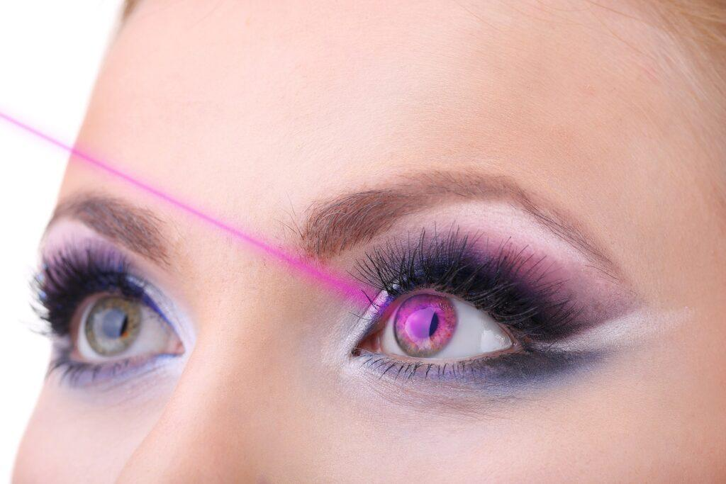female eyes with bright blue make up