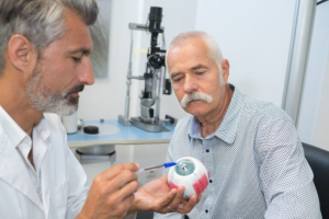 mature ophtalmologist showing eye mockup to senior patient